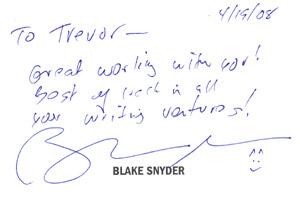 Blake Snyder Note