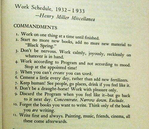 Henry Miller Writing Tips
